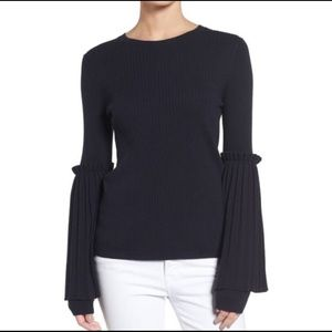 Chelsea28 Black Bell Pleated Sleeve Sweater Size S
